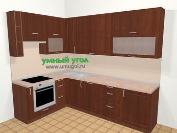 Угловая кухня МДФ матовый в классическом стиле 7,2 м², 170 на 270 см, Вишня темная, верхние модули 92 см, посудомоечная машина, встроенный духовой шкаф
