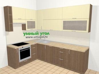 Угловая кухня МДФ матовый в современном стиле 7,2 м², 170 на 270 см, Ваниль / Лиственница бронзовая, верхние модули 92 см, посудомоечная машина, встроенный духовой шкаф