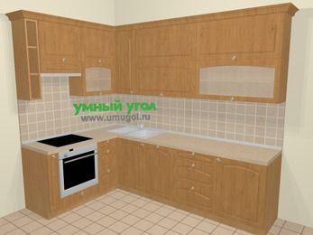 Угловая кухня МДФ матовый в стиле кантри 7,2 м², 170 на 270 см, Ольха, верхние модули 92 см, посудомоечная машина, встроенный духовой шкаф