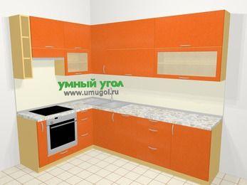 Угловая кухня МДФ металлик в современном стиле 7,2 м², 170 на 270 см, Оранжевый металлик, верхние модули 92 см, посудомоечная машина, встроенный духовой шкаф