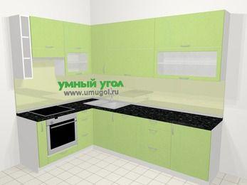 Угловая кухня МДФ металлик в современном стиле 7,2 м², 170 на 270 см, Салатовый металлик, верхние модули 92 см, посудомоечная машина, встроенный духовой шкаф