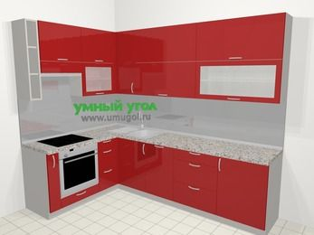 Угловая кухня МДФ глянец в современном стиле 7,2 м², 170 на 270 см, Красный, верхние модули 92 см, посудомоечная машина, встроенный духовой шкаф