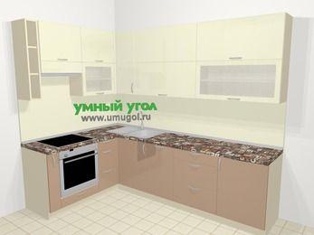 Угловая кухня МДФ глянец в современном стиле 7,2 м², 170 на 270 см, Жасмин / Капучино, верхние модули 92 см, посудомоечная машина, встроенный духовой шкаф