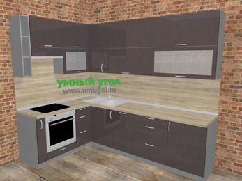Угловая кухня МДФ глянец в стиле лофт 7,2 м², 170 на 270 см, Шоколад, верхние модули 92 см, посудомоечная машина, встроенный духовой шкаф