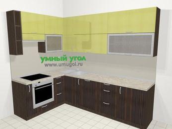 Кухни пластиковые угловые в современном стиле 7,2 м², 170 на 270 см, Желтый Галлион глянец / Дерево Мокка, верхние модули 92 см, посудомоечная машина, встроенный духовой шкаф