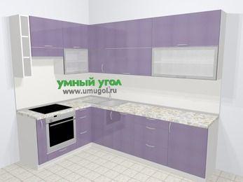 Кухни пластиковые угловые в современном стиле 7,2 м², 170 на 270 см, Сиреневый глянец, верхние модули 92 см, посудомоечная машина, встроенный духовой шкаф