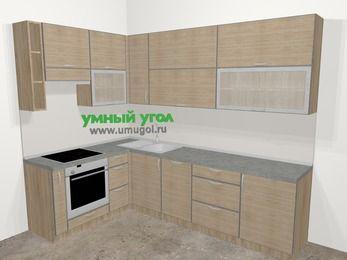 Кухни пластиковые угловые в стиле лофт 7,2 м², 170 на 270 см, Чибли бежевый, верхние модули 92 см, посудомоечная машина, встроенный духовой шкаф