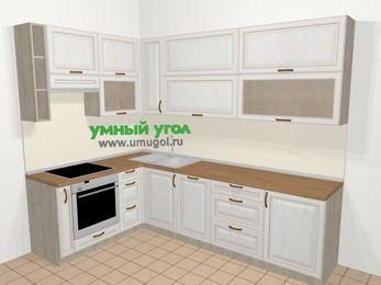 Угловая кухня МДФ патина в классическом стиле 7,2 м², 170 на 270 см, Лиственница белая, верхние модули 92 см, посудомоечная машина, встроенный духовой шкаф