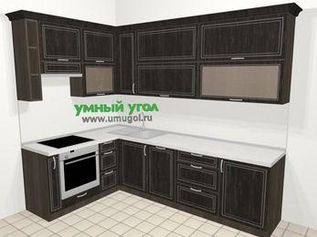 Угловая кухня МДФ патина в классическом стиле 7,2 м², 170 на 270 см, Венге, верхние модули 92 см, посудомоечная машина, встроенный духовой шкаф