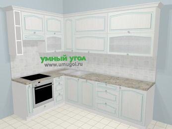 Угловая кухня МДФ патина в стиле прованс 7,2 м², 170 на 270 см, Лиственница белая, верхние модули 92 см, посудомоечная машина, встроенный духовой шкаф