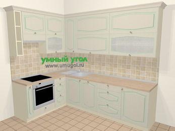 Угловая кухня МДФ патина в стиле прованс 7,2 м², 170 на 270 см, Керамик, верхние модули 92 см, посудомоечная машина, встроенный духовой шкаф