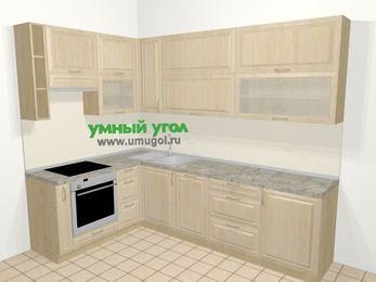 Угловая кухня из массива дерева в классическом стиле 7,2 м², 170 на 270 см, Светло-коричневые оттенки, верхние модули 92 см, посудомоечная машина, встроенный духовой шкаф