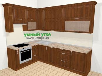 Угловая кухня из массива дерева в классическом стиле 7,2 м², 170 на 270 см, Темно-коричневые оттенки, верхние модули 92 см, посудомоечная машина, встроенный духовой шкаф