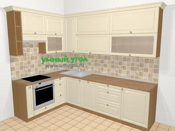 Угловая кухня из массива дерева в стиле кантри 7,2 м², 170 на 270 см, Бежевые оттенки, верхние модули 92 см, посудомоечная машина, встроенный духовой шкаф