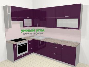 Угловая кухня МДФ глянец в современном стиле 7,2 м², 170 на 270 см, Баклажан, верхние модули 92 см, посудомоечная машина, встроенный духовой шкаф