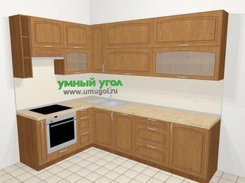 Угловая кухня МДФ патина в классическом стиле 7,2 м², 170 на 270 см, Ольха, верхние модули 92 см, посудомоечная машина, встроенный духовой шкаф