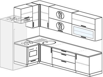 Угловая кухня 7,2 м² (1,7✕2,7 м), верхние модули 92 см, встроенный духовой шкаф, холодильник