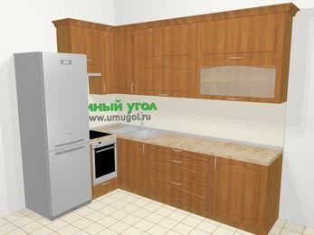 Угловая кухня МДФ матовый в классическом стиле 7,2 м², 170 на 270 см, Вишня, верхние модули 92 см, встроенный духовой шкаф, холодильник