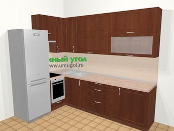 Угловая кухня МДФ матовый в классическом стиле 7,2 м², 170 на 270 см, Вишня темная, верхние модули 92 см, встроенный духовой шкаф, холодильник