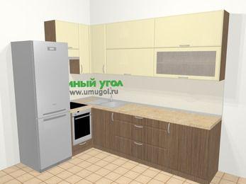 Угловая кухня МДФ матовый в современном стиле 7,2 м², 170 на 270 см, Ваниль / Лиственница бронзовая, верхние модули 92 см, встроенный духовой шкаф, холодильник