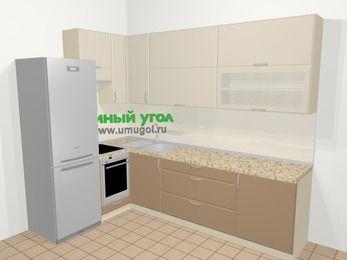 Угловая кухня МДФ матовый в современном стиле 7,2 м², 170 на 270 см, Керамик / Кофе, верхние модули 92 см, встроенный духовой шкаф, холодильник