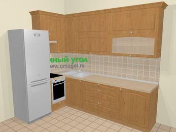 Угловая кухня МДФ матовый в стиле кантри 7,2 м², 170 на 270 см, Ольха, верхние модули 92 см, встроенный духовой шкаф, холодильник