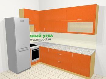 Угловая кухня МДФ металлик в современном стиле 7,2 м², 170 на 270 см, Оранжевый металлик, верхние модули 92 см, встроенный духовой шкаф, холодильник
