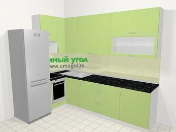Угловая кухня МДФ металлик в современном стиле 7,2 м², 170 на 270 см, Салатовый металлик, верхние модули 92 см, встроенный духовой шкаф, холодильник
