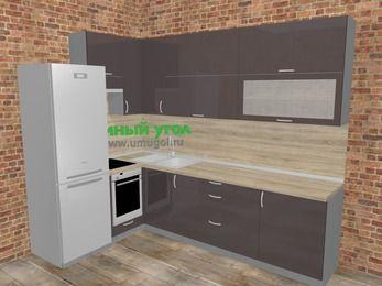 Угловая кухня МДФ глянец в стиле лофт 7,2 м², 170 на 270 см, Шоколад, верхние модули 92 см, встроенный духовой шкаф, холодильник