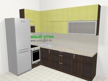 Кухни пластиковые угловые в современном стиле 7,2 м², 170 на 270 см, Желтый Галлион глянец / Дерево Мокка, верхние модули 92 см, встроенный духовой шкаф, холодильник