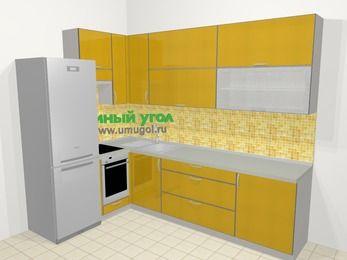 Кухни пластиковые угловые в современном стиле 7,2 м², 170 на 270 см, Желтый глянец, верхние модули 92 см, встроенный духовой шкаф, холодильник