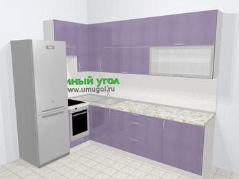 Кухни пластиковые угловые в современном стиле 7,2 м², 170 на 270 см, Сиреневый глянец, верхние модули 92 см, встроенный духовой шкаф, холодильник