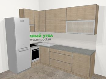 Кухни пластиковые угловые в стиле лофт 7,2 м², 170 на 270 см, Чибли бежевый, верхние модули 92 см, встроенный духовой шкаф, холодильник