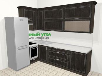 Угловая кухня МДФ патина в классическом стиле 7,2 м², 170 на 270 см, Венге, верхние модули 92 см, встроенный духовой шкаф, холодильник