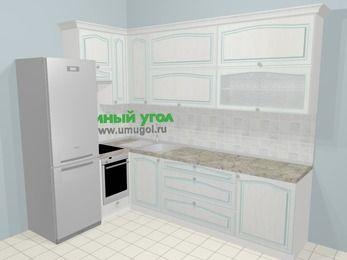 Угловая кухня МДФ патина в стиле прованс 7,2 м², 170 на 270 см, Лиственница белая, верхние модули 92 см, встроенный духовой шкаф, холодильник