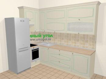 Угловая кухня МДФ патина в стиле прованс 7,2 м², 170 на 270 см, Керамик, верхние модули 92 см, встроенный духовой шкаф, холодильник