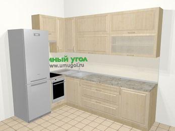 Угловая кухня из массива дерева в классическом стиле 7,2 м², 170 на 270 см, Светло-коричневые оттенки, верхние модули 92 см, встроенный духовой шкаф, холодильник