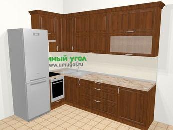 Угловая кухня из массива дерева в классическом стиле 7,2 м², 170 на 270 см, Темно-коричневые оттенки, верхние модули 92 см, встроенный духовой шкаф, холодильник