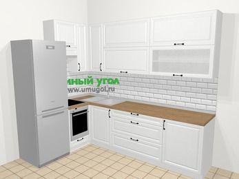 Угловая кухня из массива дерева в скандинавском стиле 7,2 м², 170 на 270 см, Белые оттенки, верхние модули 92 см, встроенный духовой шкаф, холодильник