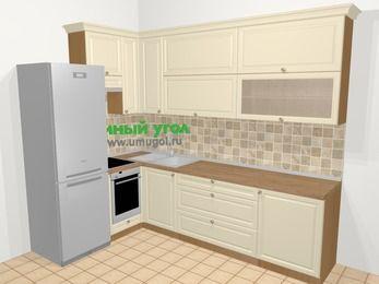 Угловая кухня из массива дерева в стиле кантри 7,2 м², 170 на 270 см, Бежевые оттенки, верхние модули 92 см, встроенный духовой шкаф, холодильник