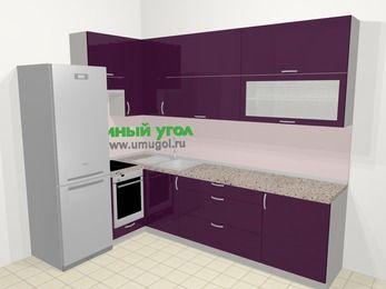 Угловая кухня МДФ глянец в современном стиле 7,2 м², 170 на 270 см, Баклажан, верхние модули 92 см, встроенный духовой шкаф, холодильник
