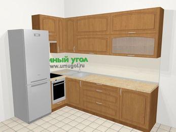 Угловая кухня МДФ патина в классическом стиле 7,2 м², 170 на 270 см, Ольха, верхние модули 92 см, встроенный духовой шкаф, холодильник
