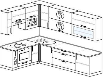 Угловая кухня 7,2 м² (1,7✕2,7 м), верхние модули 92 см, верхний модуль под свч, встроенный духовой шкаф