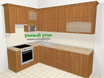 Угловая кухня МДФ матовый в классическом стиле 7,2 м², 170 на 270 см, Вишня, верхние модули 92 см, верхний модуль под свч, встроенный духовой шкаф