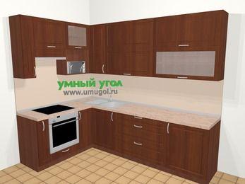 Угловая кухня МДФ матовый в классическом стиле 7,2 м², 170 на 270 см, Вишня темная, верхние модули 92 см, верхний модуль под свч, встроенный духовой шкаф