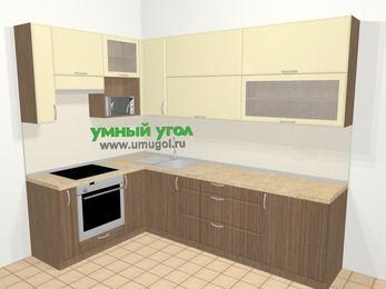 Угловая кухня МДФ матовый в современном стиле 7,2 м², 170 на 270 см, Ваниль / Лиственница бронзовая, верхние модули 92 см, верхний модуль под свч, встроенный духовой шкаф