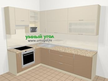 Угловая кухня МДФ матовый в современном стиле 7,2 м², 170 на 270 см, Керамик / Кофе, верхние модули 92 см, верхний модуль под свч, встроенный духовой шкаф