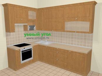 Угловая кухня МДФ матовый в стиле кантри 7,2 м², 170 на 270 см, Ольха, верхние модули 92 см, верхний модуль под свч, встроенный духовой шкаф