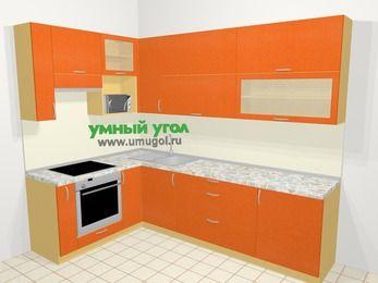 Угловая кухня МДФ металлик в современном стиле 7,2 м², 170 на 270 см, Оранжевый металлик, верхние модули 92 см, верхний модуль под свч, встроенный духовой шкаф