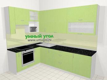 Угловая кухня МДФ металлик в современном стиле 7,2 м², 170 на 270 см, Салатовый металлик, верхние модули 92 см, верхний модуль под свч, встроенный духовой шкаф